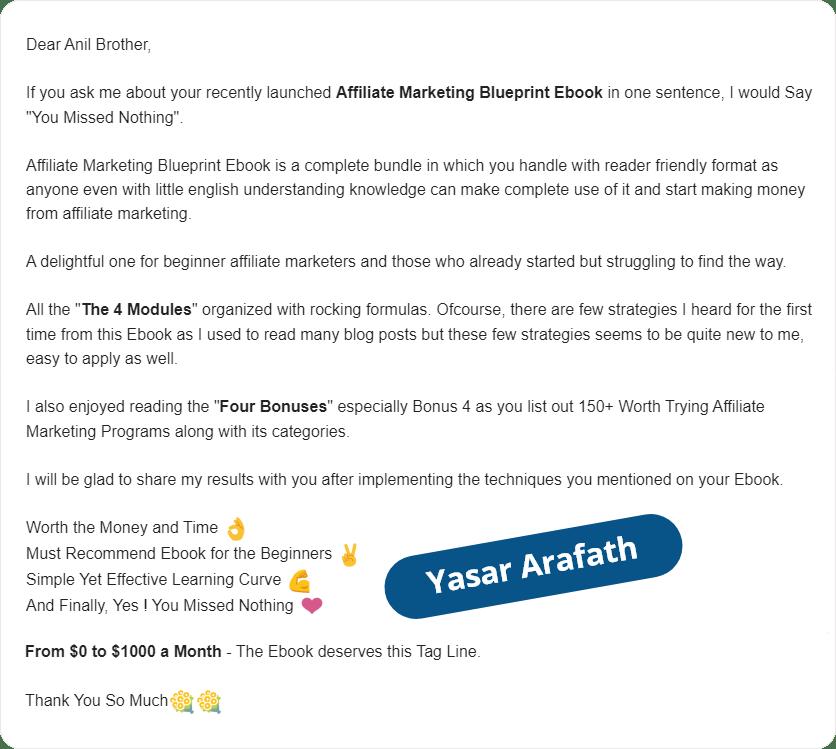 Yasar Arafath Email testimonial