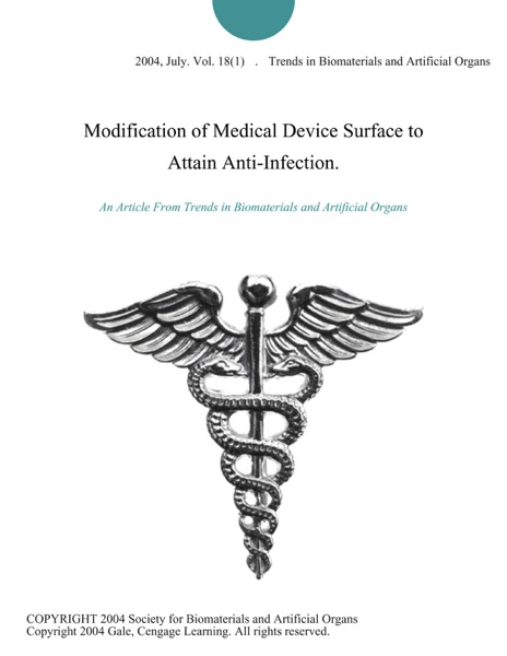 PDF Download Modification of Medical Device Surface to