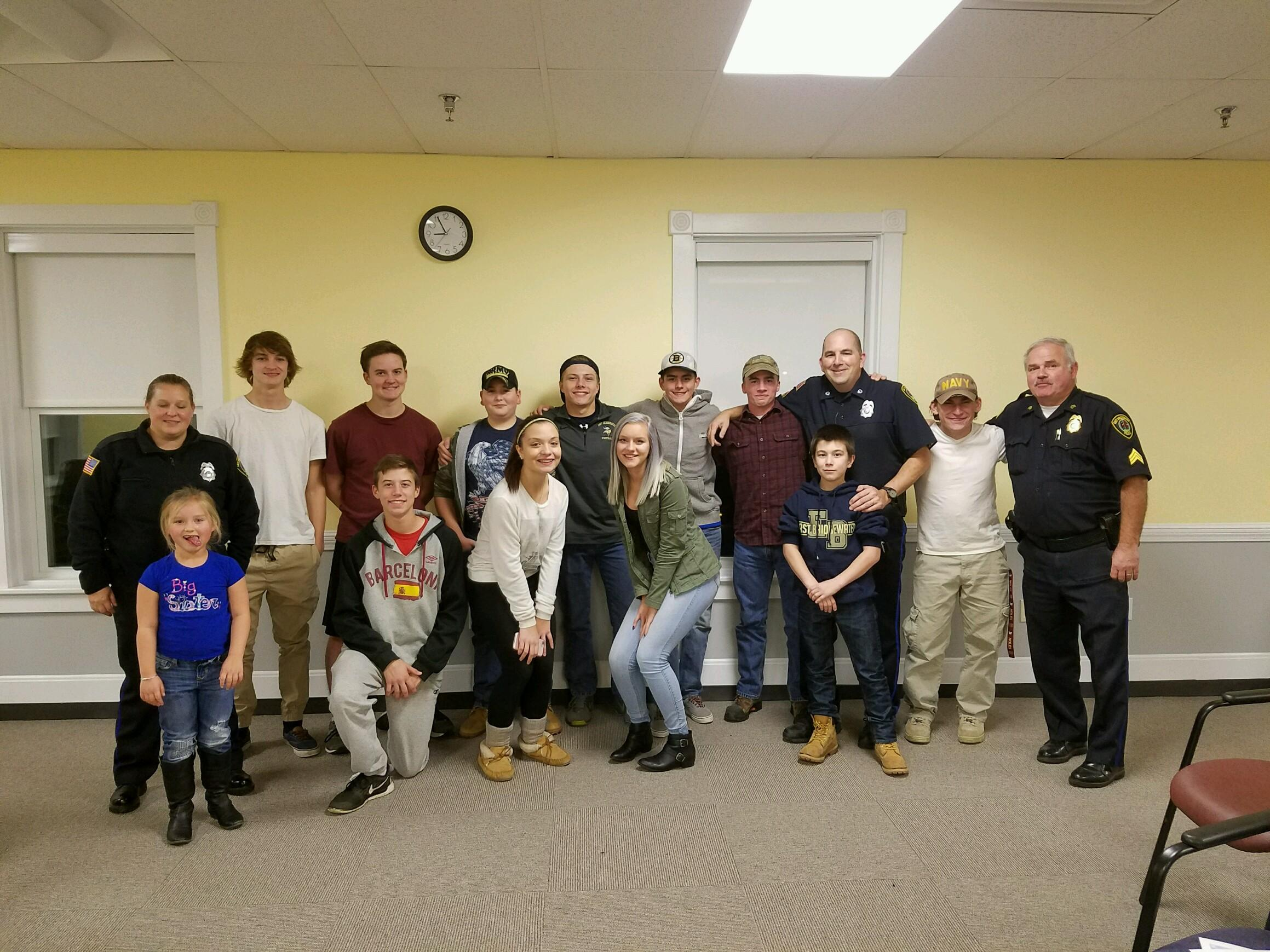 Officer Tallitha Connor, Officer Mark Harvey, and Sgt. Steven Brown with students from the East Bridgewater Citizens Police Academy. (Courtesy Photo)