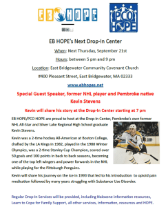 Former Local NHL Player Speaking at Next EB HOPE Drop-In Center, Thursday, September 21st