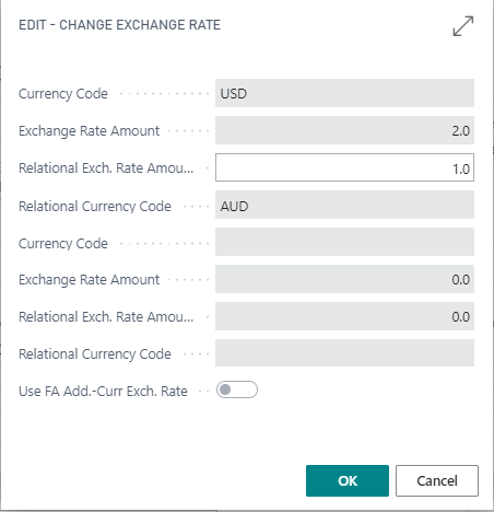 editing the exchange rate for currency