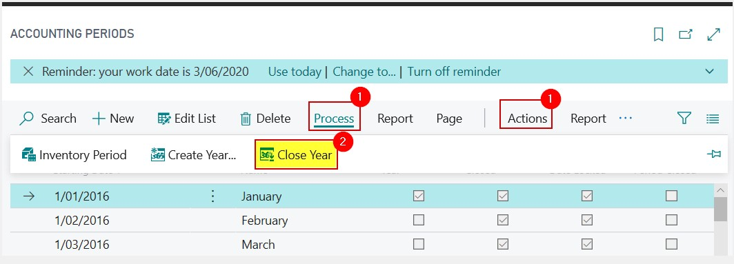 steps to running a year-end in business central