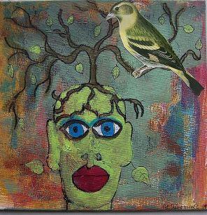 Green Woman, Yellow Bird by Nancy Denommee