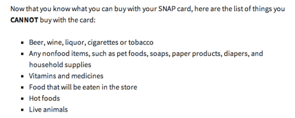 """""""List of foods you cannot buy with food stamps"""""""
