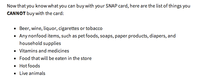 List Of Foods You Cannot Buy With Food Stamps