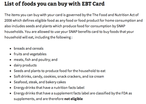 """""""list of foods you can buy with EBT Card"""""""