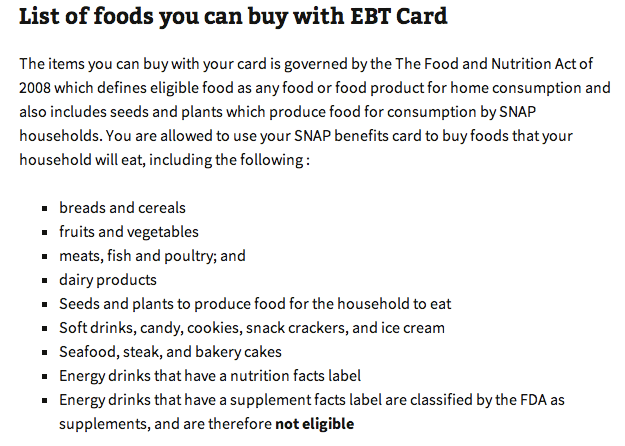 List Of Foods You Can Buy With EBT Card