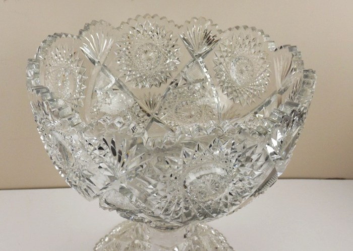 Antique Fine Crystal Cut Glass Punch Bowl On Pedestal Ebth