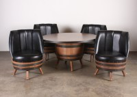 1960's - 70's vintage whiskey barrel dining set with table ...