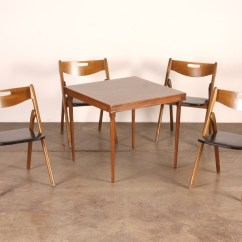 Coronet Folding Chairs Distressed Metal Vintage Wooden Card Table And (4) : Ebth