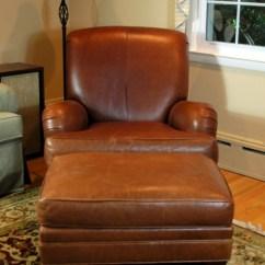 Ethan Allen Leather Chair Ergonomic Oe15 Club With Ottoman Ebth