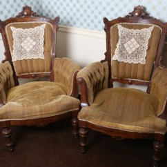Eastlake Victorian Parlor Chairs Stretchy Chair Covers For Sale Pair Of Antique Ebth