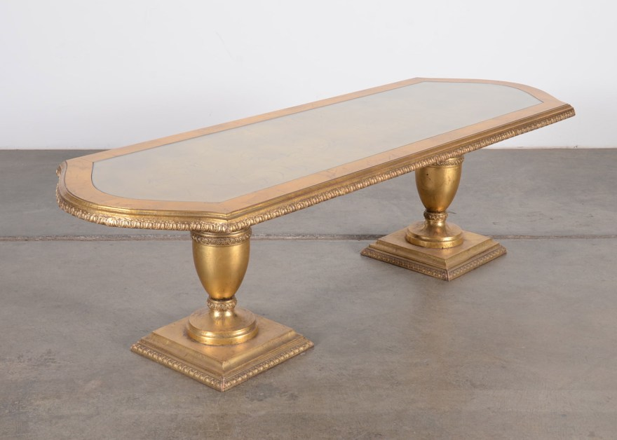 Hollywood Regency Gold Leaf Table