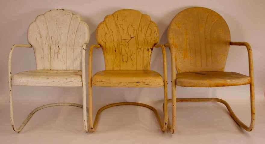 3 Vintage Shell Metal Lawn Chairs Ebth