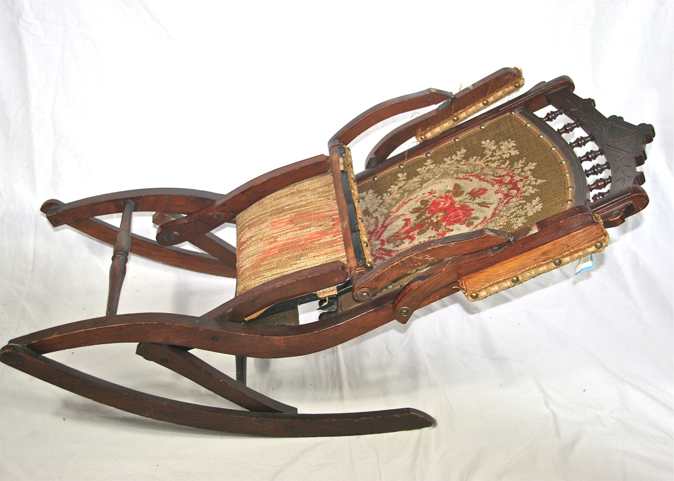old fold up rocking chair posture seat pillow antique eastlake victorian folding ebth