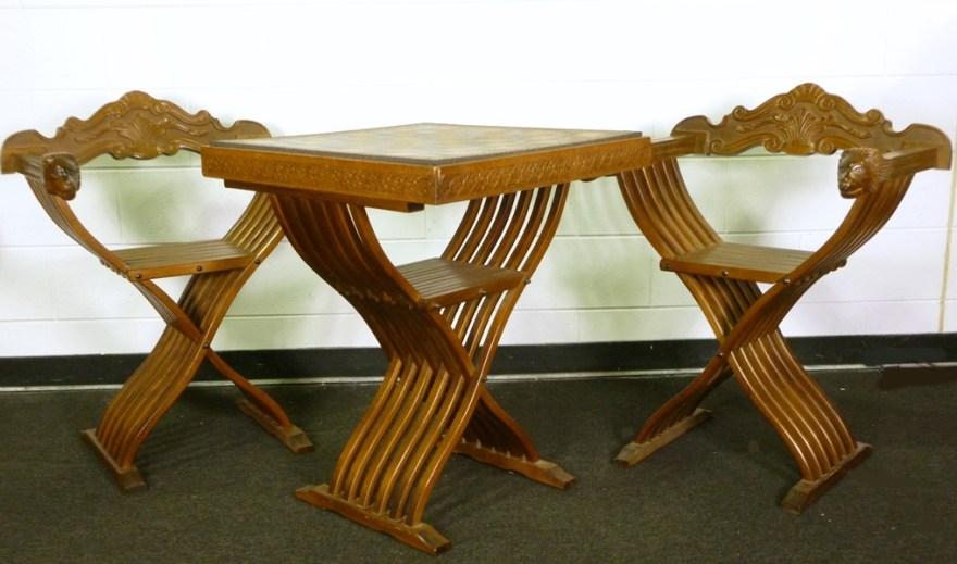 Savonarola Italian Folding Chess Table and Folding Chairs