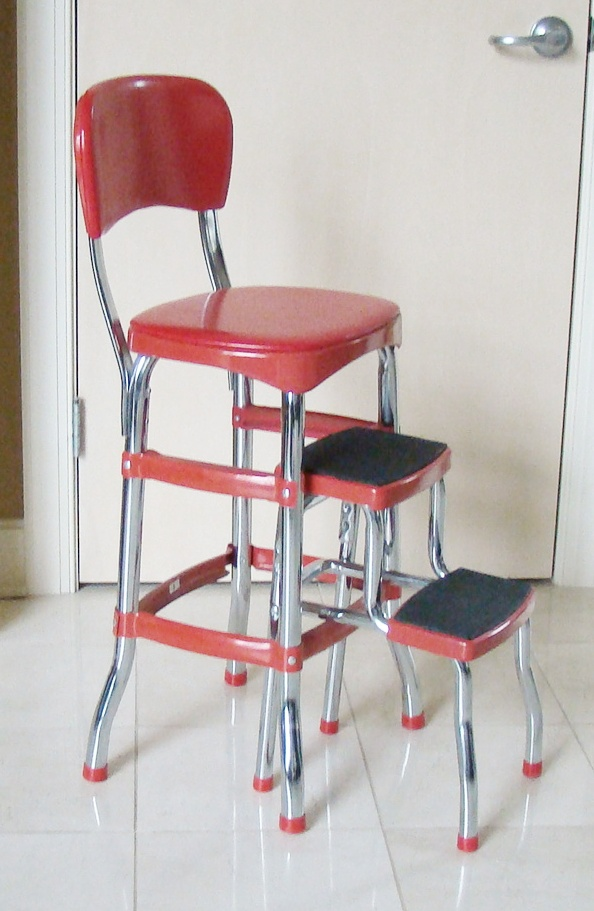 retro chair stool hook on red metal step by costco ebth