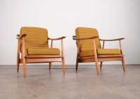 Mid Century Modern Danish Wood Frame Side Chairs : EBTH