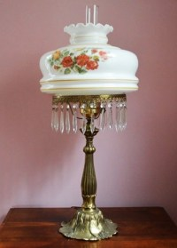 Victorian Style Brass Lamp with Hand Painted Shade : EBTH