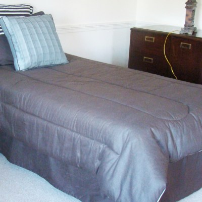 Twin Bed Mattress And Box Spring With Complete Bedding Ensemble