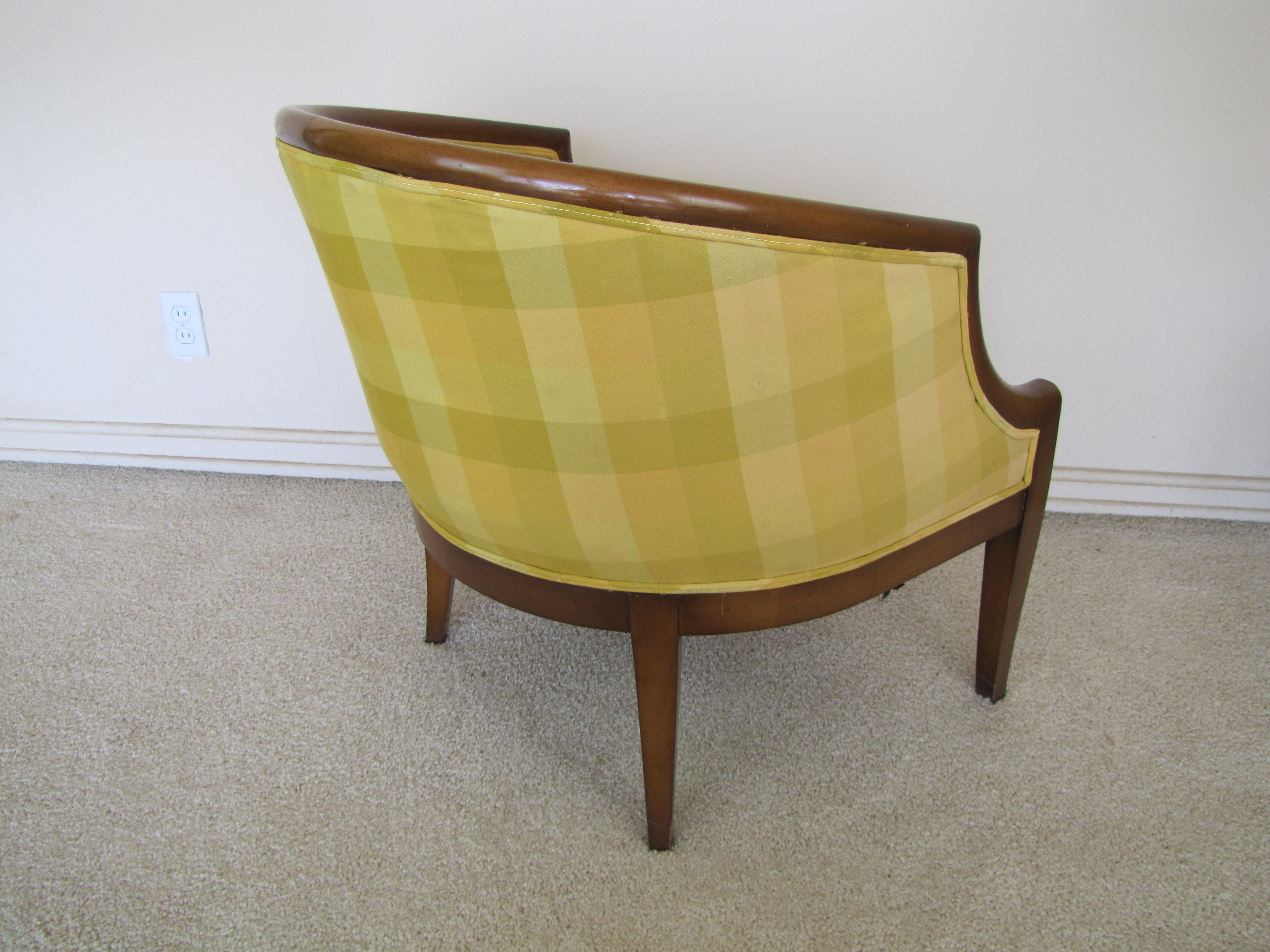 mid century barrel dining chair single sofa back club ebth