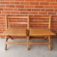 Double Seat Folding Chair Industrial Chairs Target Primitive Ebth