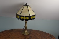 Leviton Lamp with Stained and Slag Glass Shade : EBTH