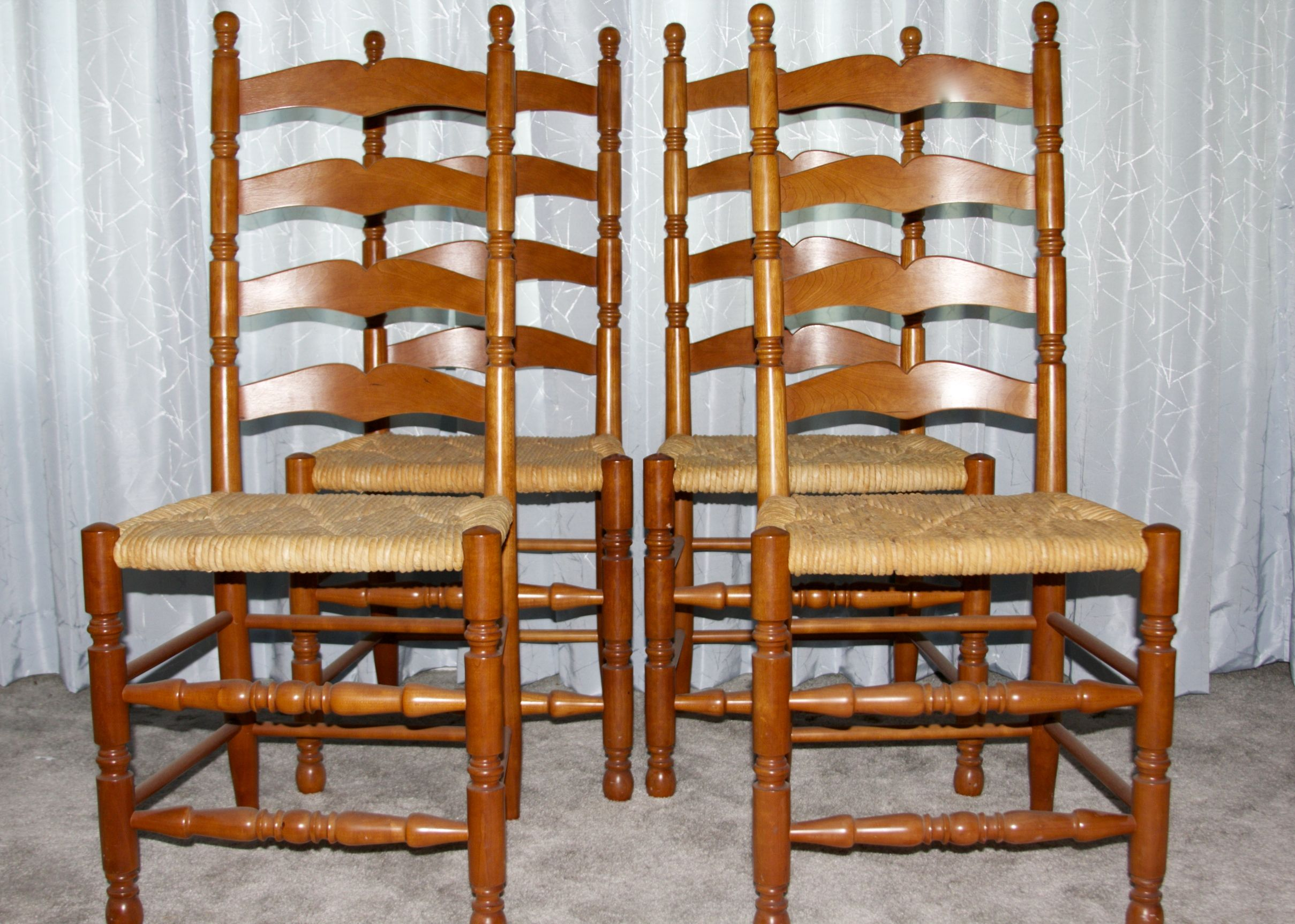 wicker ladder back chairs ergonomic chair with ball natural cherry finish woven rush