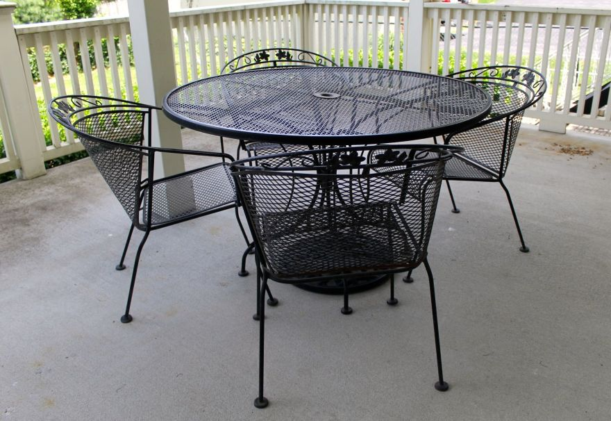 Wrought Iron Patio Table Four Chairs And Umbrella Stand