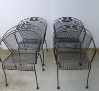 Wrought Iron Patio Table, Four Chairs and Umbrella Stand ...