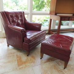 Red Leather Chair And Ottoman Attractive Office Mat Heritage Oxblood Ebth