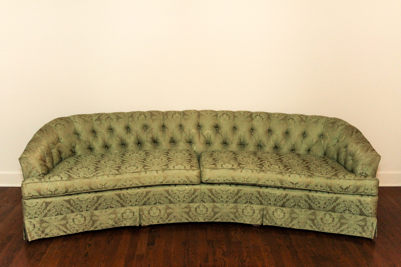 hickory fry sofa low price sofas mid century curved green tufted couch ebth
