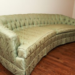 Hickory Fry Sofa Leather Paint Mid Century Curved Green Tufted Couch Ebth