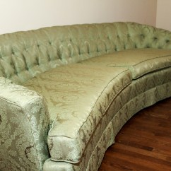 Hickory Fry Sofa Microfiber Sectional With Pull Out Bed Mid Century Curved Green Tufted Couch Ebth