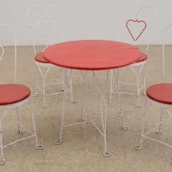 Ice Cream Table And Chairs Vinyl Material For Vintage Wrought Iron Parlor Chair Set