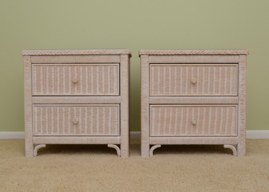 Lexington Henry Link Wicker Nightstands : EBTH