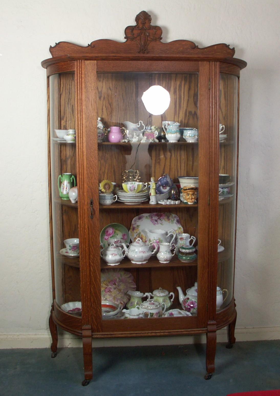 Antique Victorian Oak Curio Cabinet Ebth