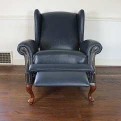 Queen Anne Wing Chair Recliner Keyboard Mount Style Wingback Leather Reclining Ebth