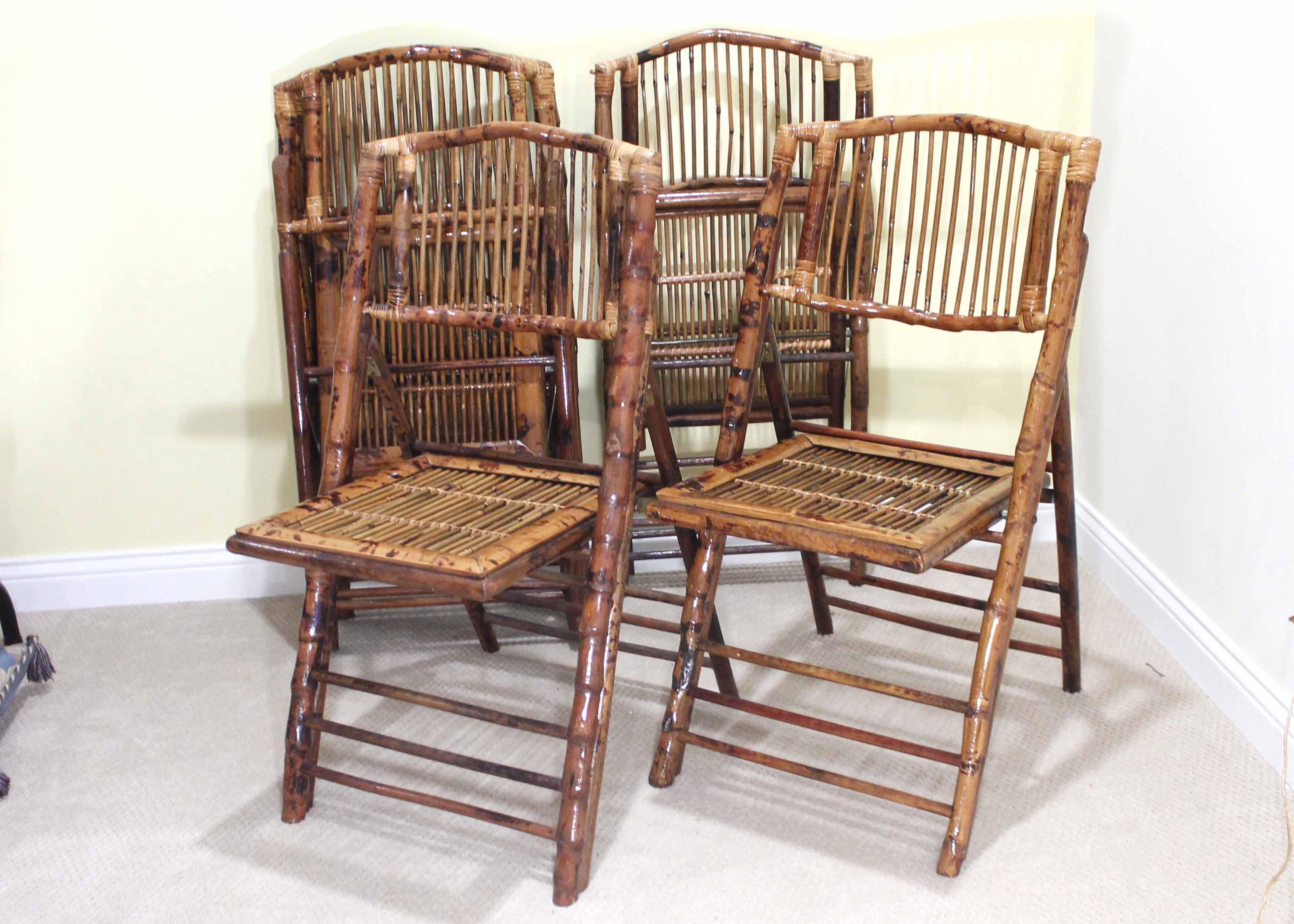 bamboo folding chair antique oak table and chairs for sale five ballard designs inc with cushions ebth