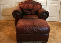 Leather Overstuffed Chair and Ottoman : EBTH