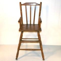 High Chair Wooden Legs Tan Leather Office Vintage Oak Hill Ebth