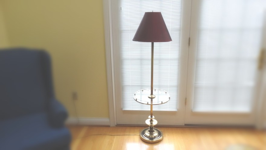 Brass Floor Lamp With Attached Glass Tray Table Ebth
