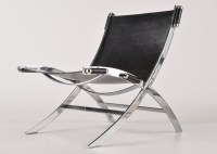 Leather and Chrome Scissor Chair : EBTH
