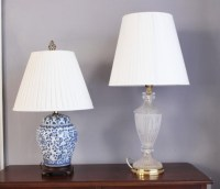 Frosted Glass Lamp and Blue and White Asian Ginger Jar ...