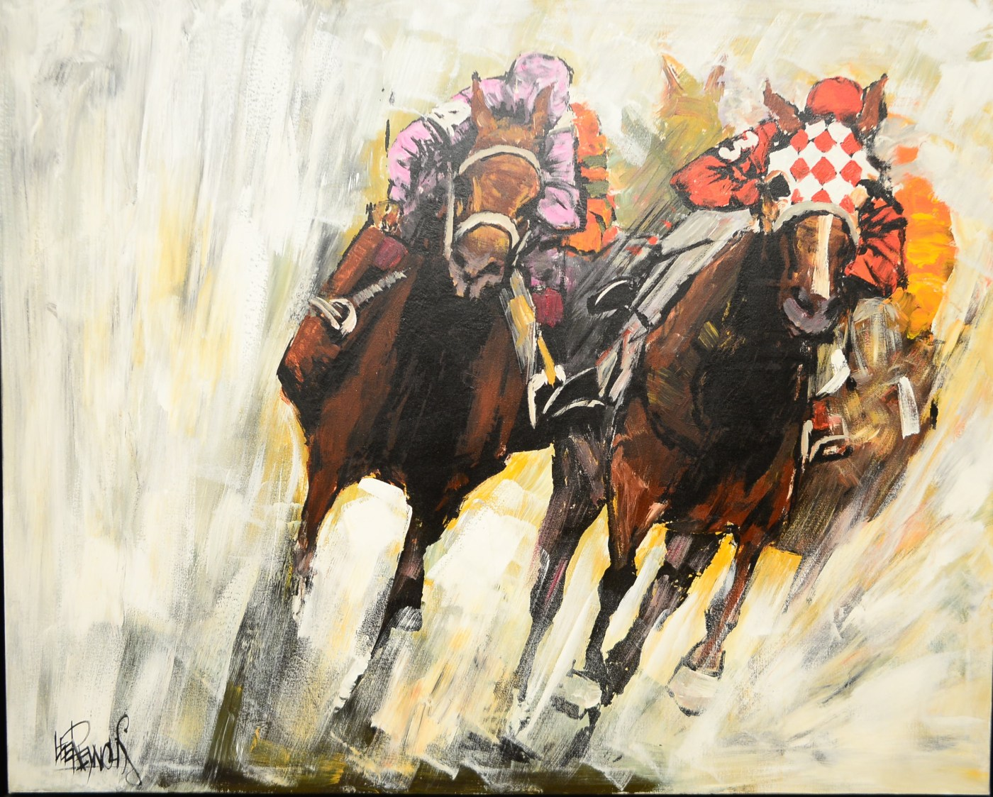 """Lee Reynolds """"three Four Action"""" Racing Painting Ebth"""