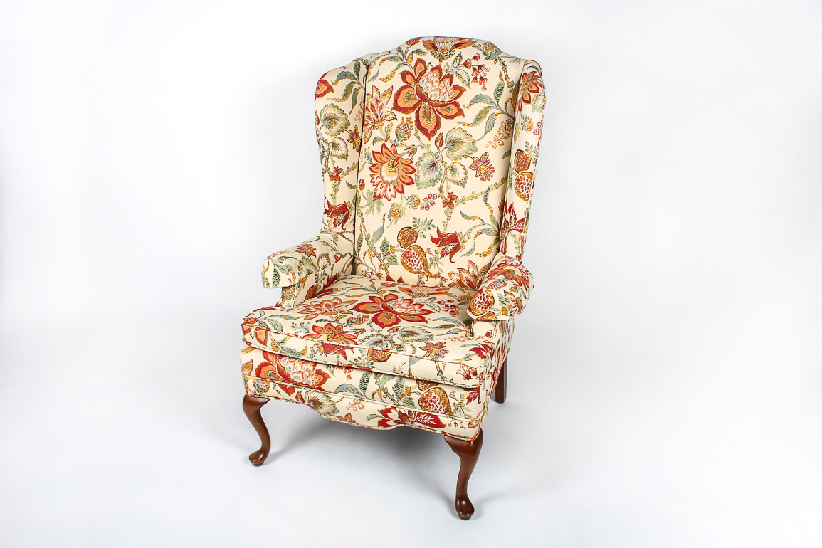 Floral Wingback Chair Vintage Conover Chair Co Floral Wingback Ebth