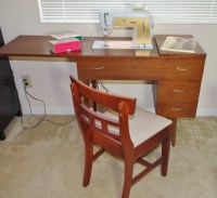 MId Century Modern Sewing Table &Chair with Singer Sewing ...
