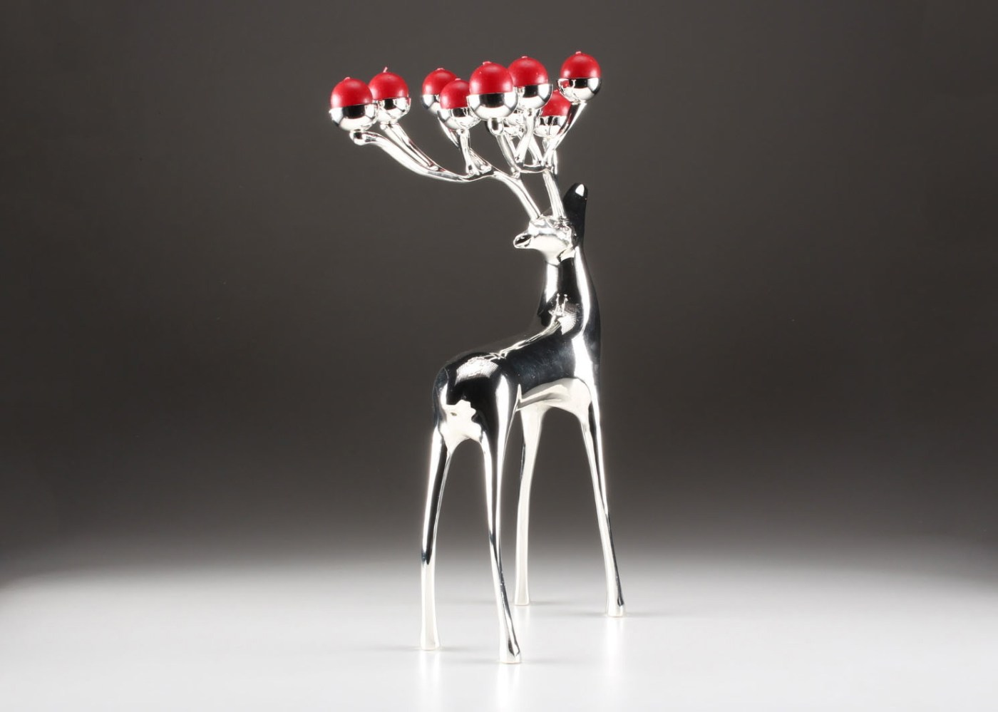 Pottery Barn Silver Plate Reindeer Candelabra With Red