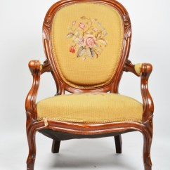 Victorian Occasional Chair Wood Arm With Cushion Rococo Revival Needlepoint Ebth