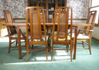 Mid Century Modern Dining Table with Six Cane-Back Chairs ...